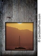 γριά , θαλασσογραφία , κορνίζα , ξύλο , ηλιοβασίλεμα , φόντο , εικόνα