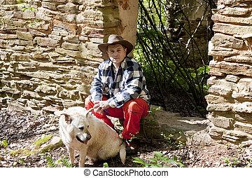 γριά , κάθονται , τοίχοs , σκύλοs , ισπανικός , βράχοs , άντραs