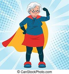 γριά , κοστούμι , χαμογελαστά , μπράτσο , ακάθιστος , τρόπος ζωής , superhero , βέβαιος , υγεία , καυκάσιος , κουραστικός , γυναίκα , theme., ηλικία , γιαγιά , δραστήριος , διπλώνω , γελοιογραφία , illustration., φιλικά , μικροβιοφορέας , αρχαιότερος , cape.
