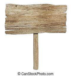 γριά , ξύλινος , απομονωμένος , σήμα , ξύλο , white., επενδύω δι