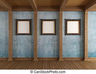 γριά , ξύλινος , δωμάτιο , με , κλασικός , κορνίζα