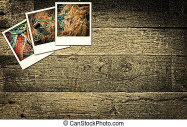 γριά , ξύλινος , εικόνες , βιομηχανία , polaroid , εναντίον , αγροτικός , ψάρεμα , φόντο , αναπαριστάνω