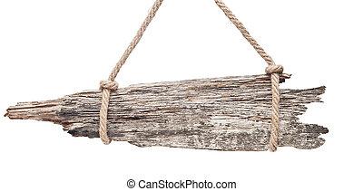 γριά , ξύλινος , σήμα , απομονωμένος , επάνω , ένα , αγαθός φόντο