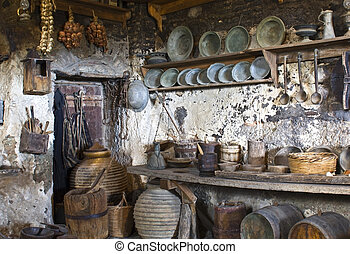 γριά , παραδοσιακός , κουζίνα , εσωτερικός , ένα , ελληνικά , μοναστήρι , σε , μετέωρα