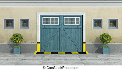 γριά , πρόσοψη , με , γαλάζιο άμαξα αυτοκίνητο , ξύλινος , γκαράζ