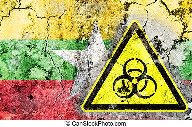γριά , ραγισμένος , τοίχοs , με , biohazard δηλοποίηση , σήμα , και , απεικονίζω , σημαία