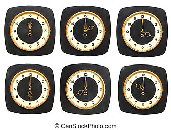 γριά , ρολόι , τοίχοs , συλλογή , φόντο. , clocks, timezone , άσπρο