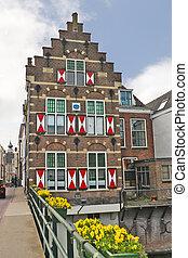 γριά , σπίτι , με , παντζούρια , μέσα , gorinchem., ολλανδία