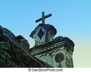 γριά , τάφος , ηλιοβασίλεμα