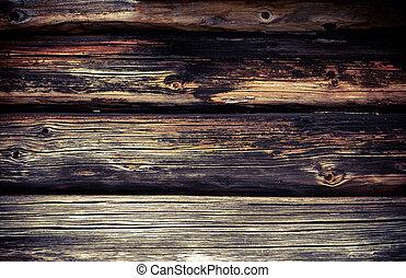 γριά , τοίχοs , από , ακατέργαστος κορμός δένδρου