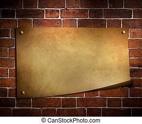 γριά , χαρτί , επάνω , πλίνθινος τοίχος , φόντο