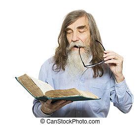 γριά , book., μόρφωση , γεροντότερος , άντραs , αρχαιότερος , διάβασμα , γένια