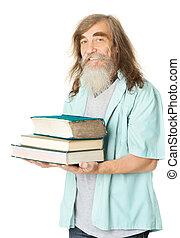 γριά , books., μόρφωση , γεροντότερος , ανώτερος ανήρ , γένια