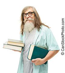 γριά , books., μόρφωση , γεροντότερος , αρχαιότερος , γυαλιά , άντραs