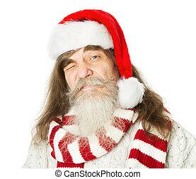 γριά , claus , santa καπέλο , άντραs , xριστούγεννα , κόκκινο , γένια