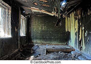 γριά , hdr, σπίτι , εσωτερικός , έκαψα , εγκαταλειμμένος