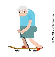 γριά , skateboard., γιαγιά , γιαγιά , board., skateboarder , κυρία