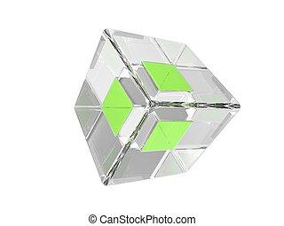 γυαλί , αφαιρώ , κύβος , πράσινο , σχήμα
