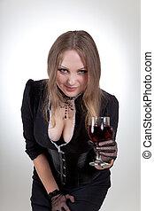 γυαλί , γυναίκα , κρασί , ελκυστικός προς το αντίθετον φύλον