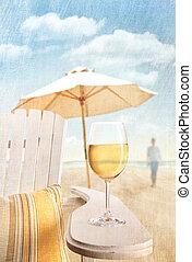 γυαλί , καρέκλα , παραλία , adirondack , κρασί
