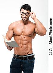 γυαλιά , βιβλίο , κράτημα , μυώδης , άντραs