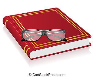 γυαλιά , μικροβιοφορέας , βιβλίο , εικόνα , κόκκινο