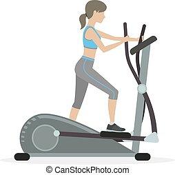 γυμναστής , κορίτσι , elliptical , καταλληλότητα