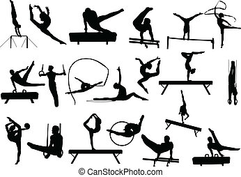 γυμναστική , απεικονίζω σε σιλουέτα