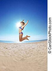 γυναίκα , άμμοs , νέος , θάλασσα , όμορφος