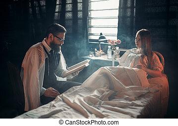 γυναίκα , άρρωστα , κρεβάτι , βιβλίο , εναντίον , νοσοκομείο , άντραs