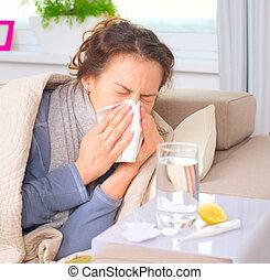 γυναίκα , άρρωστος , flu., πρλθ. του catch , φταρνίζομαι , tissue., κρύο
