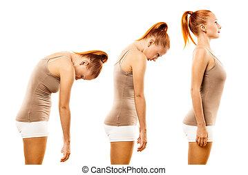 γυναίκα , άσκηση , σπονδυλική στήλη , νέος , γιόγκα , ρολό