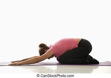 γυναίκα , άσκηση , yoga.