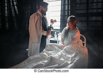 γυναίκα , άσυλο ανιάτων κρεβάτι , εναντίον , λουλούδια , άρρωστα , άντραs
