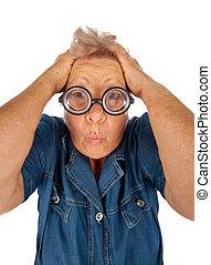 γυναίκα , έκφραση , ηλικιωμένος , έκπληκτος