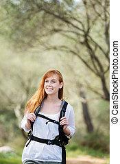 γυναίκα , έξω , backpacking , προσαρμόζω , νέος