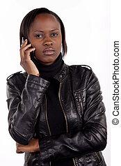 γυναίκα , έχει , νέος , σοβαρός , τηλέφωνο. , συζήτηση , ...