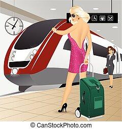γυναίκα ακουμπώ , βαλίτσα , ηλεκτρικό τράμ