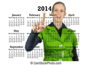 γυναίκα ακουμπώ , πίσω , ένα , 2014, ημερολόγιο
