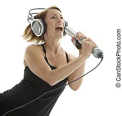 γυναίκα , ακουστικά