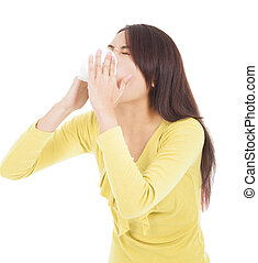 γυναίκα , αλλεργία , γρίπη , νέος , ή , χαρτομάντηλο , φυσώντας , έχει
