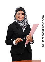 γυναίκα αμπάρι , επιχείρηση , μουσελίνη , νέος , ασιάτης , άγκιστρο για ανάρτηση εγγράφων , χαμογελαστά , έγγραφο