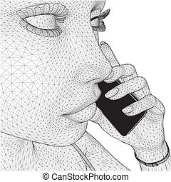γυναίκα αμπάρι , κινητός , δίκτυο , νέος
