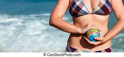 γυναίκα αμπάρι , σφαίρα , sea., φόντο , γη