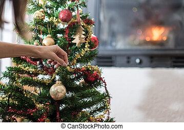 γυναίκα ανάμιξη , βάφω διακοπές χριστουγέννων αγχόνη