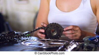 γυναίκα , ανακαινίζω , κομμάτια , από , ποδήλατο , σε ,...