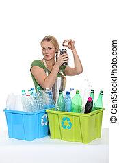 γυναίκα ανακυκλώνω , γριά , αγαλματώδης δέμα