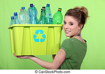 γυναίκα ανακυκλώνω , καφάσι , από , αγαλματώδης δέμα