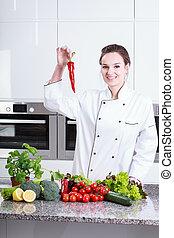 γυναίκα , αναμμένος άρθρο κουζίνα , με , λαχανικά