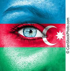 γυναίκα αντικρύζω , απεικονίζω , με , σημαία , από , αζερμπαϊτζάν
